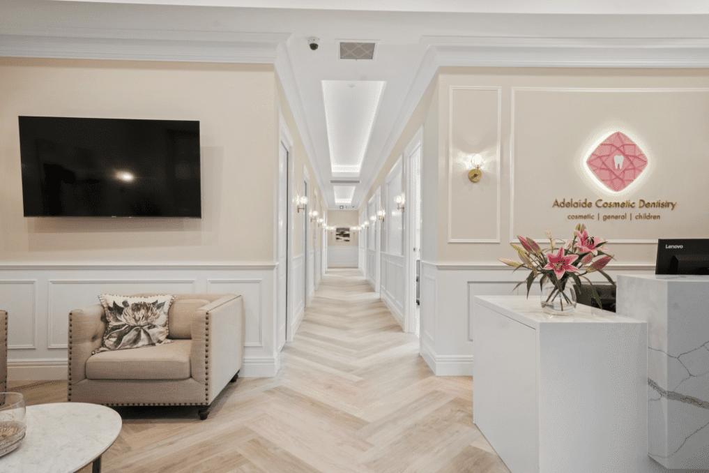 Reception area design of dental clinic