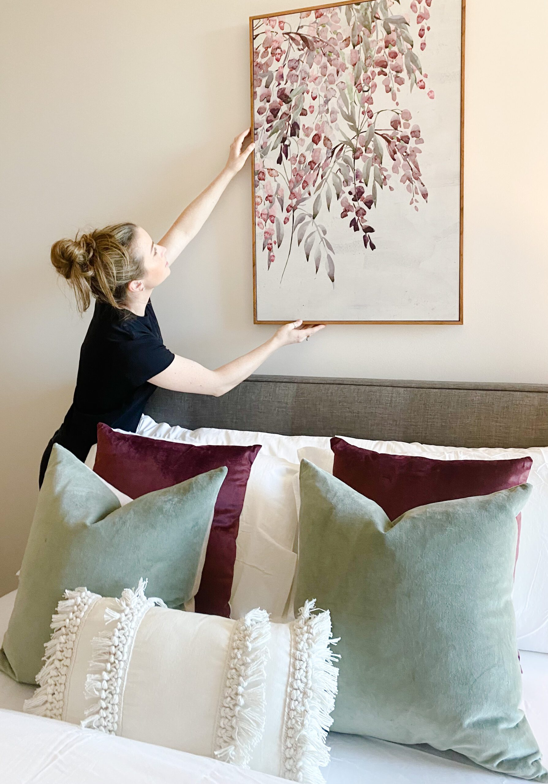 Hanging artwork over your bed. How high to hang your art.