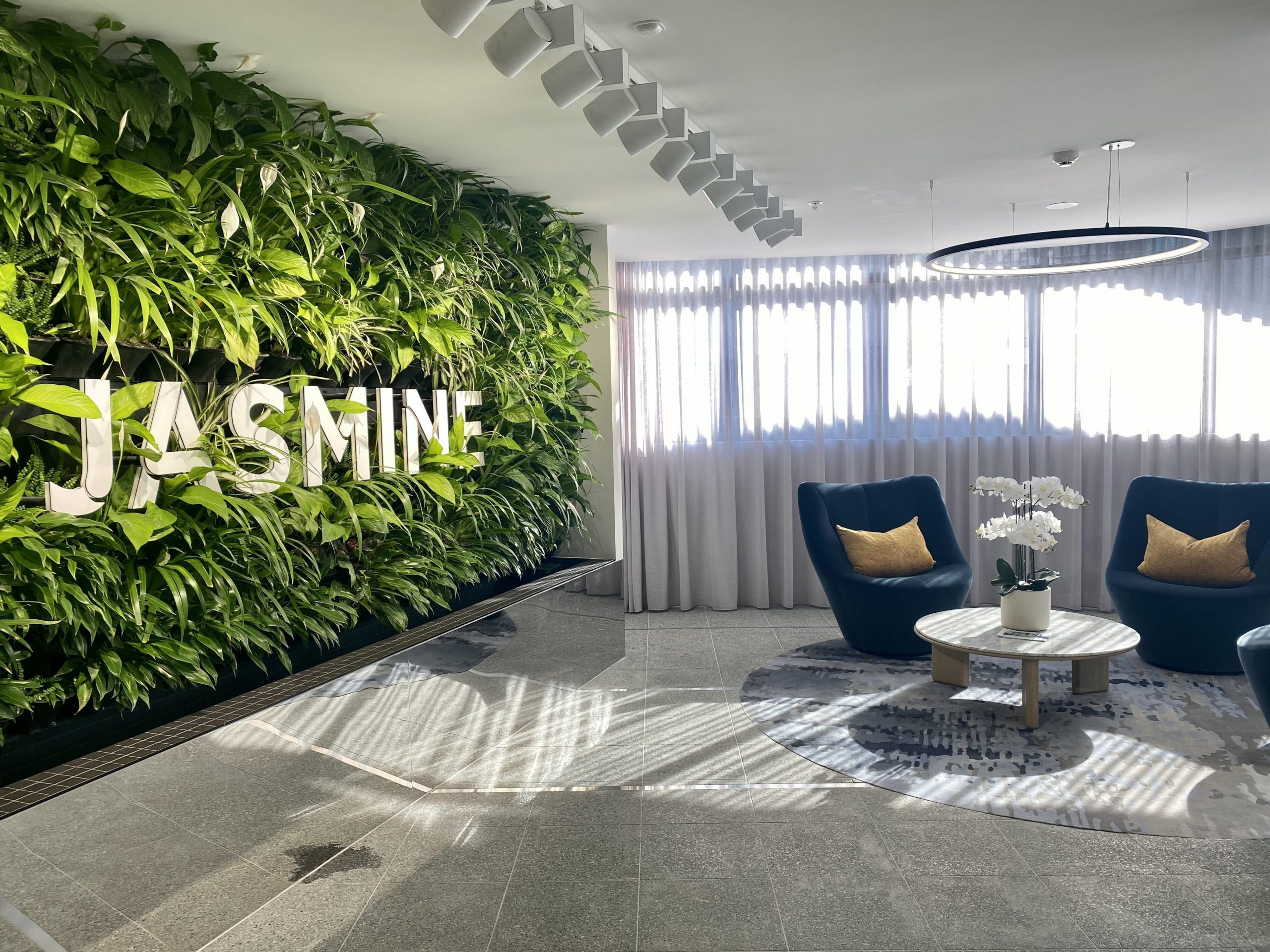 vertical green wall in lobby design