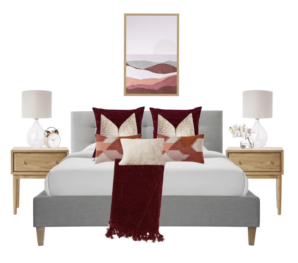 Interior Design in Craigeburn. mood board for burgundy themed bedroom