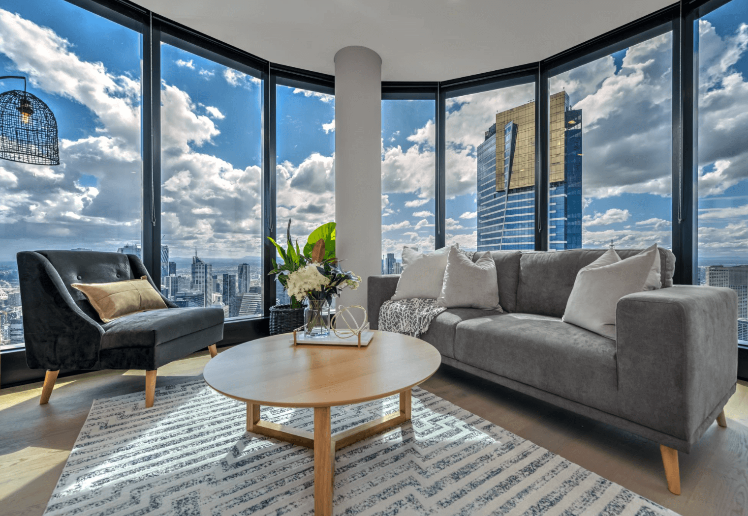 modern city apartment with a view of eureka tower melbourne
