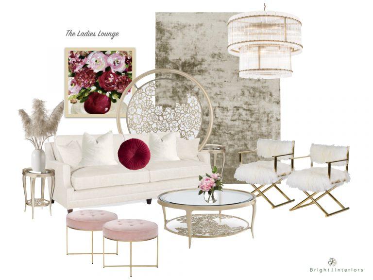 E-Design mood board for glamorous ladies lounge