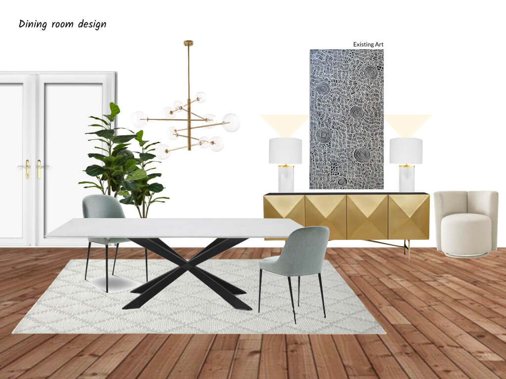 Moodboard for glam dining room