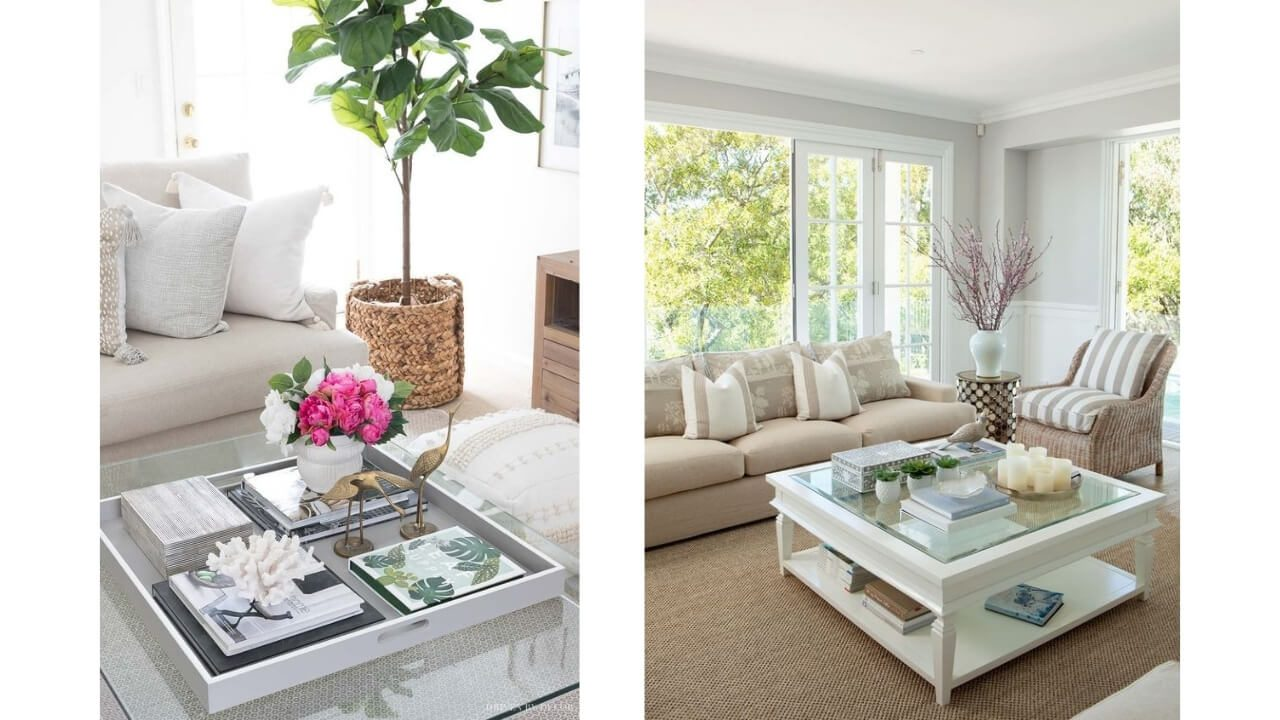 square coffee table styling
