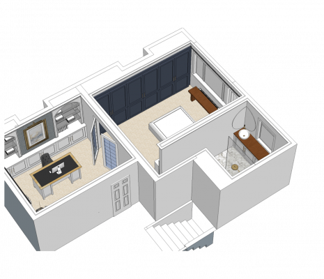 3D birds eye view of master bedroom with french doors